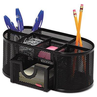 Rolodex 1746466 Mesh Pencil Cup Organizer Four Compartments Steel 9 13 x 4 12 x 4 Black