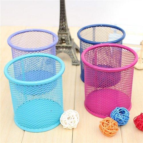 UDTEE 4PCS Colorful Steel Mesh Pencil CupPen HolderRuler OrganizerDesk SorterClips Collection TubBlueHot PinkBlackGreenOrange EtcRandom Color