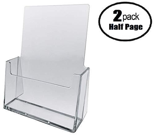 Tz Tagz Brand 6 Wide Half Page Acrylic Literature Brochure Holder 2 Pack
