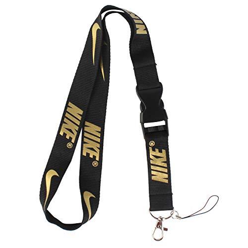 Lanyard Keychain Holder Keychain Key Chain Black Lanyard Clip with Webbing Strap Nike Golden Letter