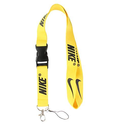 Lanyard Keychain Holder Keychain Key Chain Black Lanyard Clip with Webbing Strap Nike Yellow