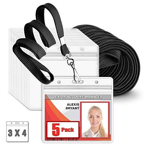 MIFFLIN Flat Lanyard with Large Horizontal ID Name Badge Holder Set Black Lanyard Clear 3x4 Inch Tag Holder 5 Pack