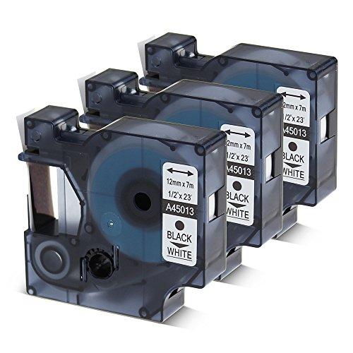 3 PK Compatible DYMO Label Cassette 12 Inch Black on White D1 Tape 45013 S0720530 for LabelManager 280 160 360D 420P 450D Refill Cartridge