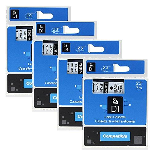 4 Pack Compatible DYMO D1 Label Cassette 45013 S0720530 Label Maker Tape Black on White 12 Inch x 23 Feet