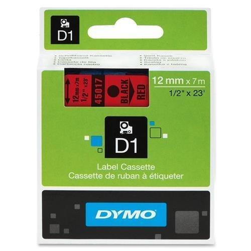 DYMO D1 Black Red 45017 Label Cassette - 12 x 23 by DYMO