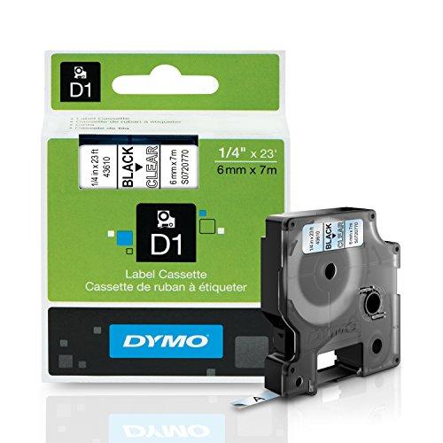 DYMO Standard D1 43610 Labeling Tape  Black Print on Clear Tape  14 W x 23 L  1 Cartridge