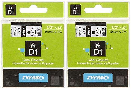 Dymo D1 45013 Tape Cartridge Black On White 05 X 23-Black 2 pk