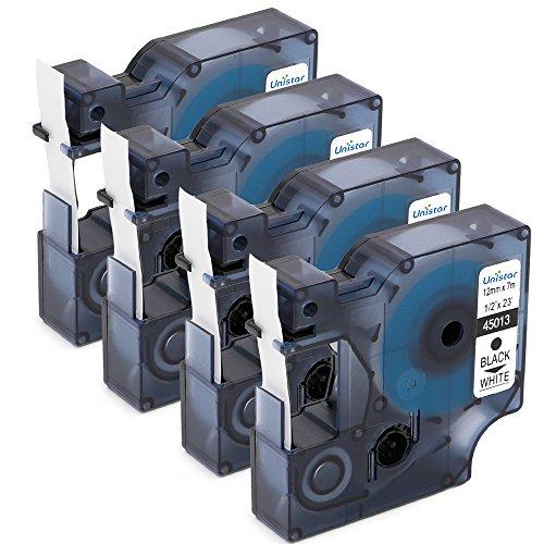 Unistar 4 Pack Compatible DYMO Standard Labeling Tape D1 45013 Label Cassette12 Inch 12mm Length x 23 Feet 7m Width Black on White