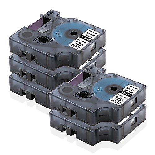 18443 DYMO Rhino PRO Labeller Tape Compatible Vinyl Tape Cassette 38 x 18Black on White 5 Rolls