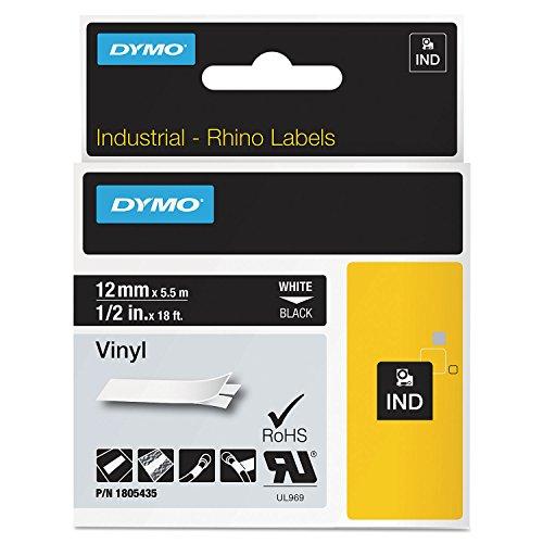 Dymo Rhino 12 Black Vinyl 12MM