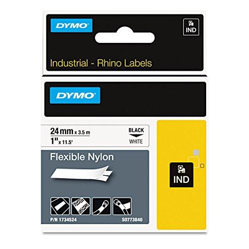 DYMO 1734524 Rhino Flexible Nylon Industrial Label Tape 1-Inch x 11 12 ft WhiteBlack Print