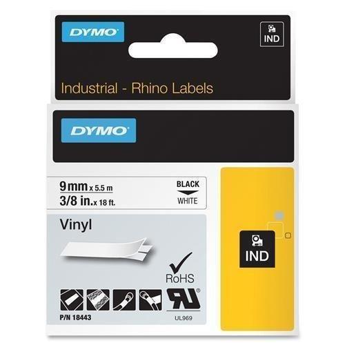 DYMO 18443 Rhino Permanent Vinyl Industrial Label Tape 38-Inch x 18 ft WhiteBlack Print