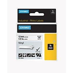 DYMO 18444 Rhino Permanent Vinyl Industrial Label Tape 12-Inch x 18 ft WhiteBlack Print