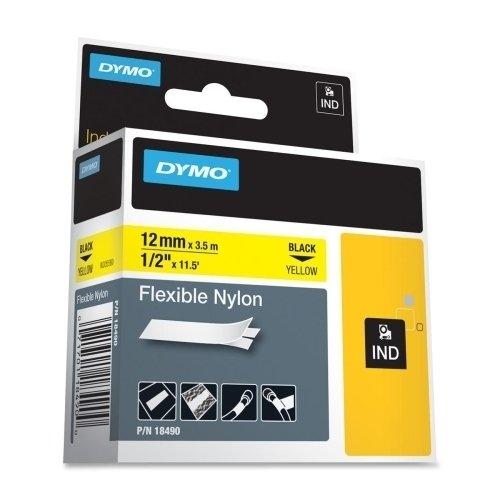 DYMO 18490 Rhino Flexible Nylon Industrial Label Tape 12-Inch x 11 12 ft YellowBlack Print