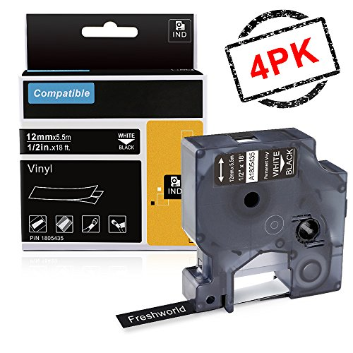 Freshworld Compatible Label Tape Replacement for Dymo Rhino Permanent Vinyl Industrial A1805435 Tapefor DYMO 4200500052006000RhinoPro Label Maker LabelWriterWhite on Black12Inch x 18ft 4Pack