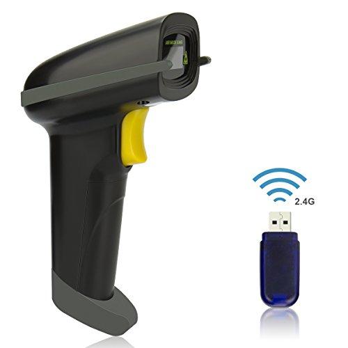 Wireless Barcode Scanner USB 1D Laser Bluetooth Barcode Reader Handhold Bar Code Scanner with USB Receiver for StoreSupermarketWarehouse(Black