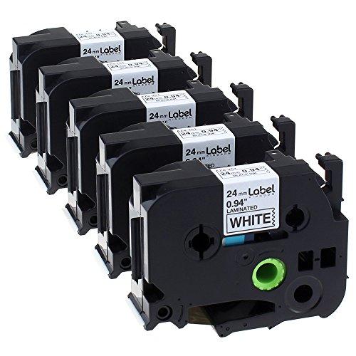 Label KINGDOM 5 Pack P Touch Label Tape Cartridge Compatible Brother Label Printers TZ251 TZe251 TZ-251 Black on White 1 094 x262 ft 8m