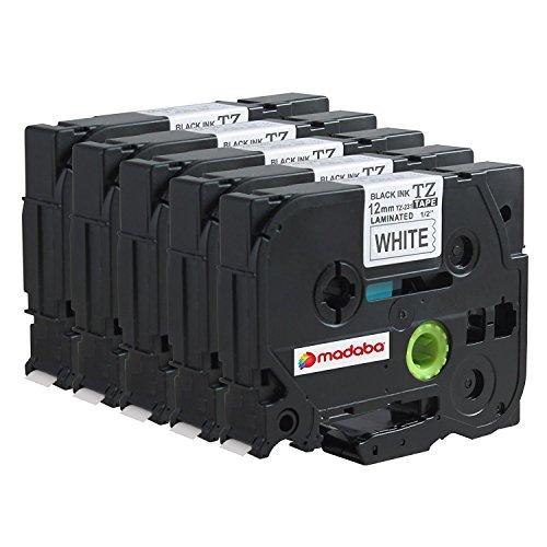 Madabcom 5x Pack compatible for Brother TZE 231 tz 231 tz231 tze231 12mm Laminated tze-231 12mm tz tape 12mm 047 Label Black on White 12mm wide x 8 m Length 12 inch tze-231pk p-touch label tape