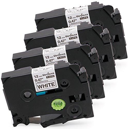 Wonfoucs 4 Pack Compatible Brother TZe Laminated Label Tape TZe 231 TZe-231 TZe231 for PT-D210 PT-H100 Labeler Black on White 047 Inch 12mm x 262 Feet 8m