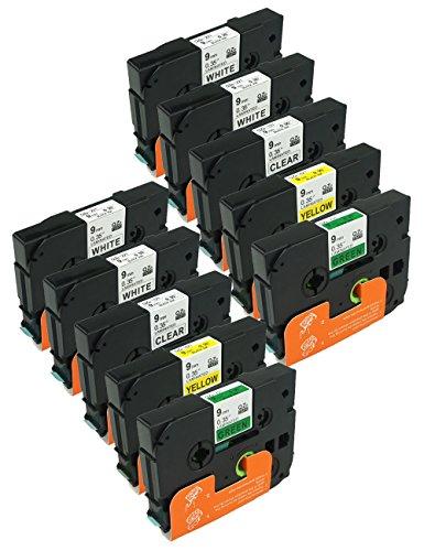 WonderTec Compatible Brother P-touch Label Tape TZ TZeStandard Laminated Tapes9mm x 8m 035 x 262 10 Pack Combo Set TZ221 x4 Each 2 of TZ121TZ621TZ721