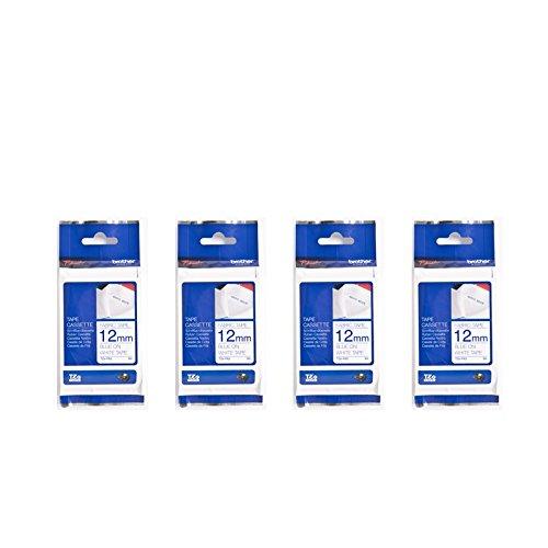 4pcs Brother TZe-FA3 Fabric Tape 12mm Tape Cassette Bulk Pack - Fabric  Blue on White