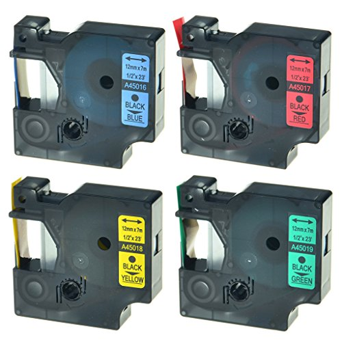 NineLeaf 4PK 12mm Tapes For DYMO D1 45016 45017 45018 45019 Black on Blue Black on Red Black on Yellow Black on Green LabelManager 280 Label Maker