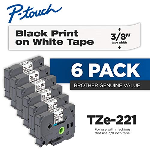 Brother Genuine P-Touch 6-Pack TZe-221 Laminated Tape Black Print on White Standard Adhesive Laminated Tape for P-Touch Label Makers Each Roll is 0359mm ~ 38 Wide 262 8M Long