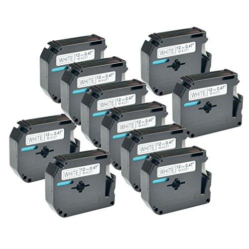 NineLeaf 10 Pack Replacement Black on White Label Tape Compatible with Brother MK231 M-K231 PT-110 PT-65 PT-70BM PT-80