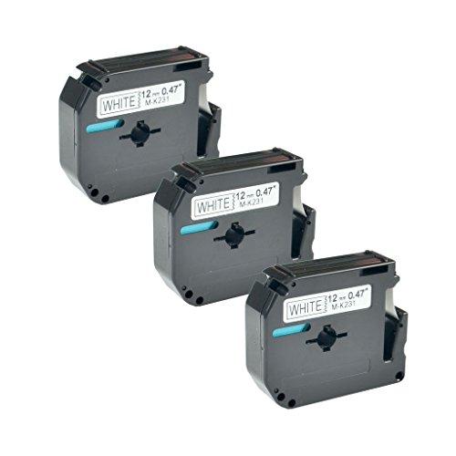NineLeaf 3 Pack Replacement Black on White Label Tape Compatible with Brother MK231 M-K231 PT-110 PT-65 PT-70BM PT-80