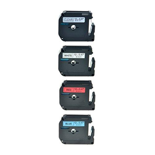 NineLeaf 4PK Black on ClearWhiteRedBlue MK131 MK231 MK431 MK531 12mm 8m Label Tape For Brother M-K131 M-K231 M-K431 M-K531 P-touch PT-70 PT-65 PT-80 Printer