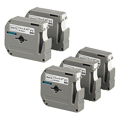 Royplus 5 Pack Compatible Brother P-touch M231 MK231 M-k231 Label Tapes 12mm12-Inch  Wide X262ft LengthBlack on White Tape Cassettes for PT-65 PTM95 PT-90 PT70BM PT-70SR PT-80 Label Maker