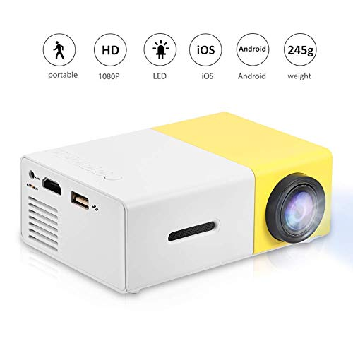 Mini Projector Portable 1080P LED Projector Home Cinema Theater Movie Projectors Support HDMI  AV  USB  TF Card Input Great Gift Pocket Projector for Party and CampingYellow