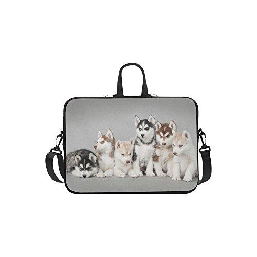 InterestPrint Cute Animal Dog Laptop Sleeve Case Bag Husky Dog Shoulder Strap Laptop Sleeve Notebook Computer Bag 133 Inch for Macbook Pro Air HP Dell
