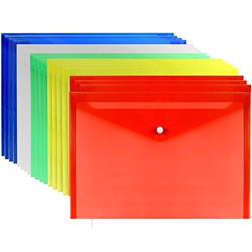 LoveS 20pcs Premium Quality Poly Envelope Document Folder With Snap Button Closure A4 Size 5 Assorted Colors Set-translucent Watertear Resistant