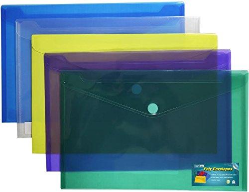 Premium Poly Envelope with Velcro Closure-5pc Mix Colors Set Letter A4 Size-translucent