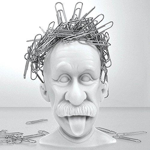 Albert Einstein Genius Bald Headed Magnetic Paper Clip Holder Desk Accessory