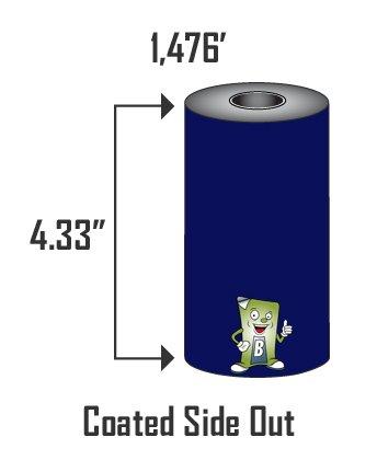 433 x 1476 110mm x 450m Thermal Transfer Ribbon Blank Labels Brand - 24 Rolls Premium Wax for Zebra or Datamax Industrial Printers
