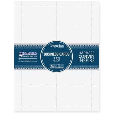 Geographicsampreg LaserInkjet Business Cards 2 x 3 12 White 10 per Sheet 350 per Pack