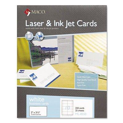 Maco LaserInkjet Business Card - 35ampquot x 2ampquot - 250Box - White