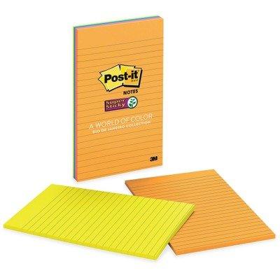 MMM5845SSUC - Post-it Super Sticky 5x8 Jewel Pop Lined Pads