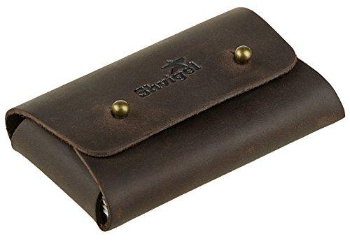 Shvigel Business Card Holder Leather - Visiting Card Case - Front Pocket Card Wallet Organizer Brown Vintage