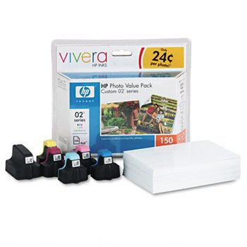 HP 02 Series Photo Paper Value Pack KITHP 02 CART W 150 SHT 35548 Pack of2