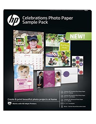 HP Photo Paper Sample Pack - Assortment 5x7 85x11 envelopes