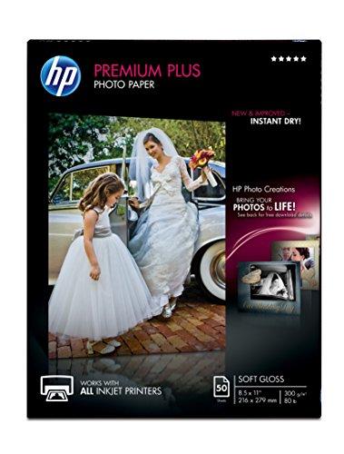 HP Premium Plus Photo Paper soft Gloss 50 Sheets 85 x 11 Inches
