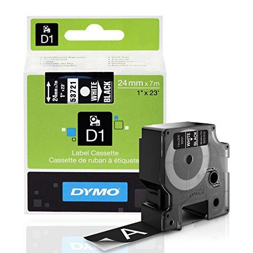 DYMO Standard D1 53721 Labeling Tape  White Print on Black Tape  1 W x 23 L  1 Cartridge