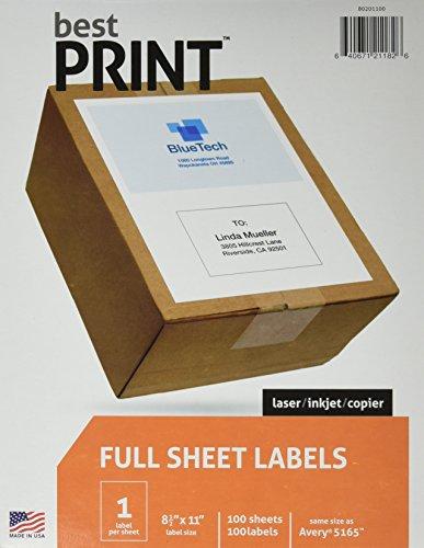 Full Sheet - Best Print Address Labels - 8-12 x 11 Same size as 5165 100 Labels