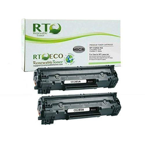 Renewable Toner Compatible MICR Toner Cartridge Replacement for HP 85A CE285A Laserjet P1102 P1109 M1212 MFP M1217 Black 2 Pack