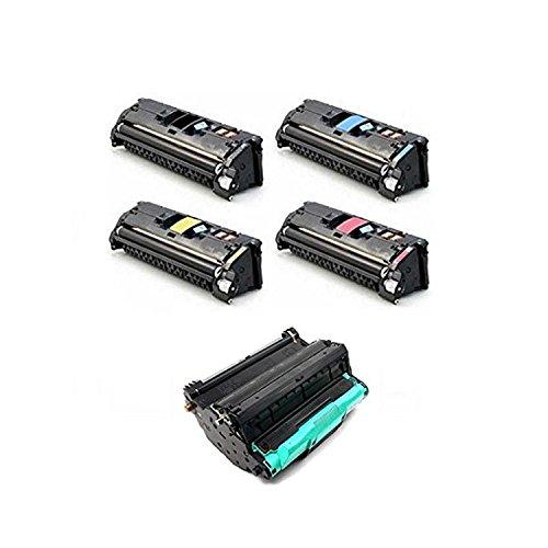 Compatible Black Cyan Yellow Magenta HP Toner Drum Cartridge Q3960A Q3961A Q3962A Q3963A And Q3964A DR 20000 pages4000 Page Yield for HP Color LaserJet 2550Ln-1SetDR