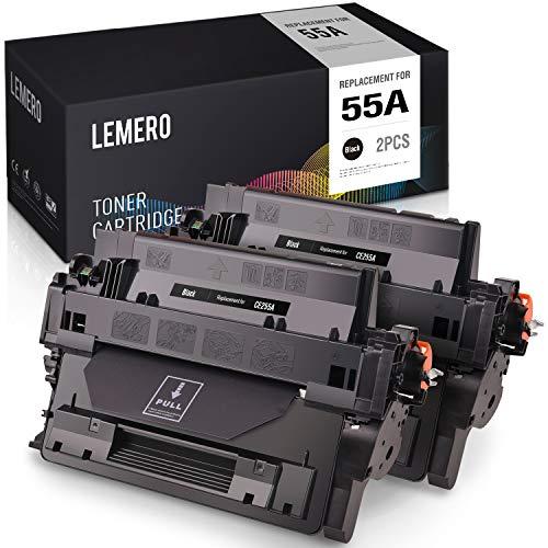 LEMERO Compatible Toner Cartridge Replacement for HP 55A CE255A to use with Laserjet Pro P3015dn P3015n P3015x MFP M521dn M525dn M525f Black 2-Pack