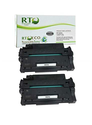 Renewable Toner Compatible MICR Toner Cartridge Replacement for HP 55A CE255A for HP Laserjet Enterprise P3010 P3015 P3016 Printers 2-Pack